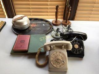 Antique Candle Holders  Books  Phones  Etc