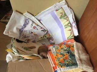 Box of Asst linens   Tablecloths