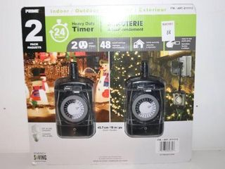 2PACK PIME HEAVY DUTY TIMER INDOOR OUTDOOR