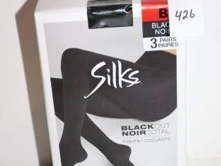 3PACK SIlKS WOMENS BlACKOUT TIGHTS SIZE B