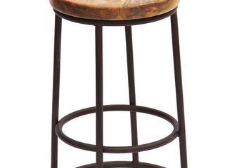 The Urban Port Wooden Circular Top Jaden Counter Stool