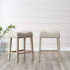 The Gray Barn Barish Saddle Seat Counter Stools SET OF 2