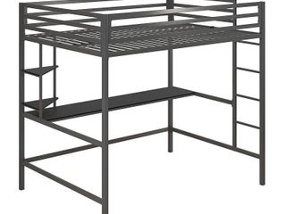 Twin Maxwell Metal loft Bed with Desk   Shelves Gray Black   Novogratz