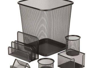 Honey Can Do Black 6 Piece Steel Mesh Desk Organizer Supplies Set
