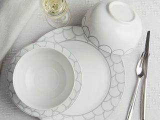 Safdie   Co  12 Piece Dinnerware Set  White  Silver Scale