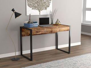 Safdie   Co  Computer Desk 47l Brown Reclaimed Wood 2 Drawers Black Metal Brown Reclaimed Wood