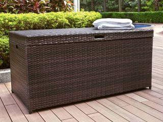 Outdoor wicker storage bench
