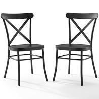 Set of 2 Camille Dining Chair Matte Black   Crosley