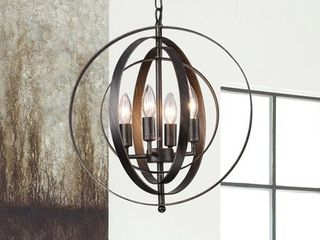 Copper Grove St  Mary Antique Black Iron 4 light Orb Chandelier  Retail 109 99