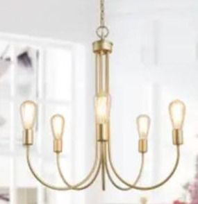 Modern Contemporary 5 lights Chandelier Gold Swag lighting Fixture   W25 xH26  Retail 197 99
