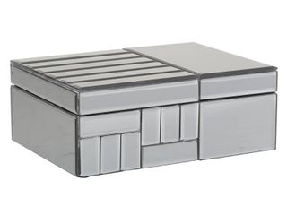 lITTON lANE 10 in  x 4 in  Gray large Contemporary Mirrored Jewelry Box