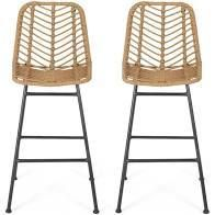 Sawtelle Outdoor Wicker Barstools  Set of 2  by Christopher Knight Home  Retail 223 99