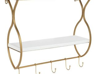 Kate and laurel Spurling Wood and Metal Floating Wall Shelf with Hooks  Retail 119 99