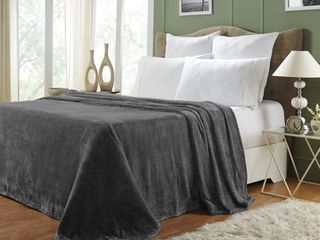 Impressions Monticello Solid Microfiber Fleece Blankets and Throws  Full Queen  Charcoal