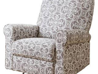 Jackson Grey and Cream Fabric Nursery Swivel Glider Recliner Chair  Retail Value  730 57