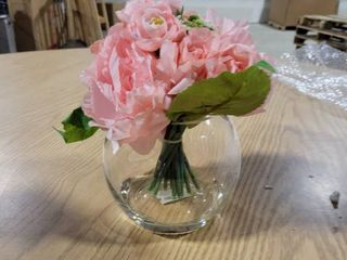 Enova Home Pink Rose and Peony Mixed Flower Arrangement in Round Glass Vase with Faux Water