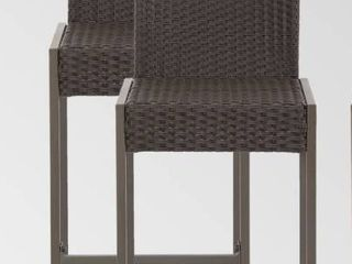 Conway Outdoor Wicker Barstool  Set of 2  by Christopher Knight Home  Retail 173 99