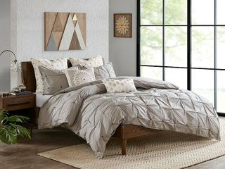Ink Ivy Masie King Cal King 3 Piece Elastic Embroidered Cotton Duvet Cover Set Bedding