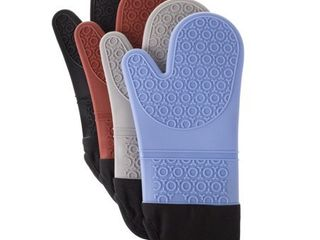 Windsor Home Silicone Oven Mitts with Quilted lining and 2 sided Textured Grip