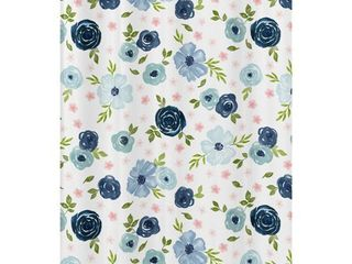Navy Blue Pink Watercolor Floral Bathroom Fabric Bath Shower Curtain   Blush Green White Shabby Chic Flower