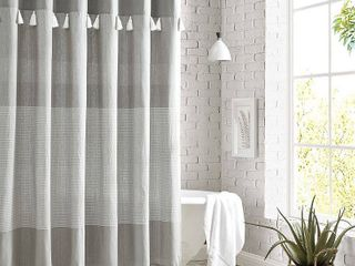 Peri Home Panama Stripe Shower Curtain  Size One Size   Grey