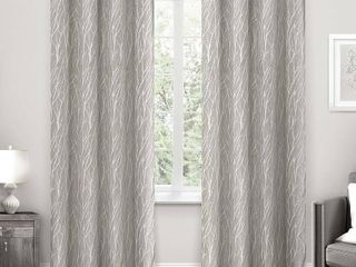 Set of 2 84 x54  Forest Hill Woven Room Darkening Grommet Top Window Curtain Panel light Gray   Exclusive Home