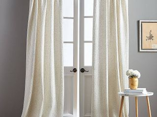 Set of 2 Positano Textured Natural Poletop Single Curtain Panel