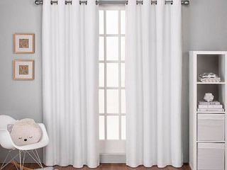 Winter White  ATI Home linen Thermal Woven Blackout Grommet Top Curtain Panel Pair