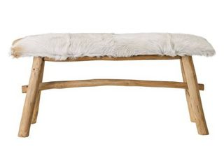 Wood Bench with Goat Fur Top  Retail 246 99