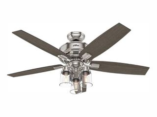 Hunter Fan 16 9 x 25 4  x 10 2  Bennett with Handheld Remote led lighted Ceiling Fan Brushed Nickel