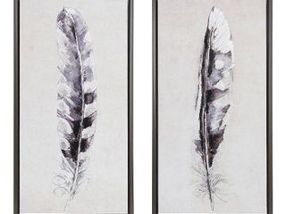 Madison Park Flight Feathers Grey Framed Gel Coated Canvas 2 Piece Set  Retail 104 99