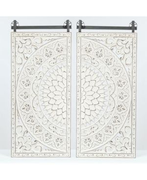 luxen Home Set of 2 Decorative Carved Floral Patterned Mdf Wall Panel