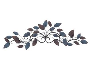 lITTON lANE 35 in  W  10 in  H Traditional Style Blue Iron leaves Wall Decor