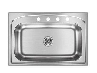 Elkay Pergola Drop In Stainless Steel 33 in  4 Hole Single Bowl Kitchen Sink  Silver