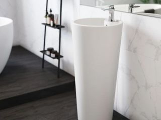 Swiss Madison Monaco Circular Basin Pedestal Sink in Glossy White Retail 284 49