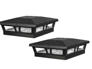 Cambridge 6 in  x 6in  Outdoor Black lED Solar Post Cap  2  Pack