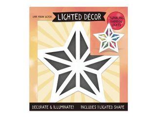 Paper Mache lighted Shape Star  White