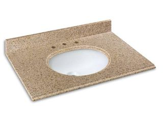 Cahaba 25 in  x 22 in  Beige Granite Vanity Top with oval bowl and 8 in  faucet spread