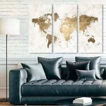 Oliver Gal Maps and Flags Wall Art Canvas Prints  light Wash World Map  World Maps   Gold  White  Retail 122 99