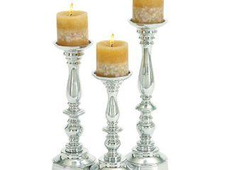 Decmode Aluminum Candleholder  Set of 3  Silver