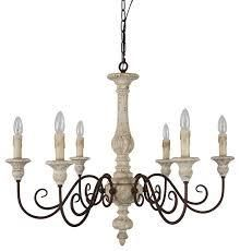 French Country Wood 6 light candle style