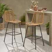 Sawtelle Outdoor Wicker Barstools  Set of 2  by Christopher Knight Home  Retail 443 99