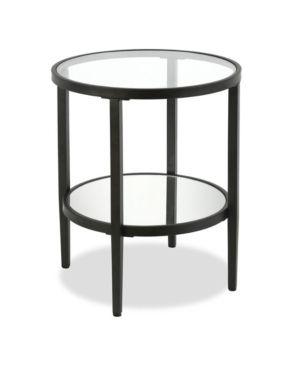 Hera mirrored side table in blackened bronze