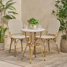 Arthur Outdoor Aluminum and Wicker Outdoor French Bistro Set by Christopher Knight Home  Retail 291 49