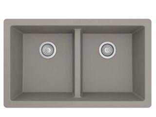 Karran Quartz Concrete 33 in  50 50 Double Bowl Composite Undermount Kitchen Sink