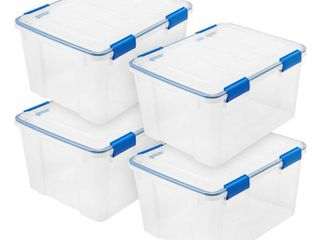 44 Qt  WEATHERTIGHT Storage Box in Clear  4 Pack
