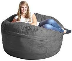 5 Foot Memory Foam Micro Suede Beanbag Chair With grey Cover
