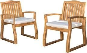 Della Outdoor Set Of 2 Dining Chairs Teak Finish Creme Cushion
