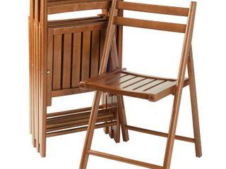 4pc Robin Folding Chair Set Teak Brown   Winsome