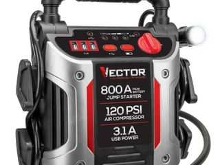 Vector 800 Peak Amp Portable Car Jump Starter with 120 PSI Compressor and Triple USB Power